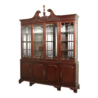 Henkel Harris Large Chippendale Style Mahogany Beveled Glass Breakfront China Cabinet #2382 For Sale