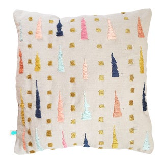 """""""The Bess Pillow"""" Abstract Embroidered Canvas Pillow"""
