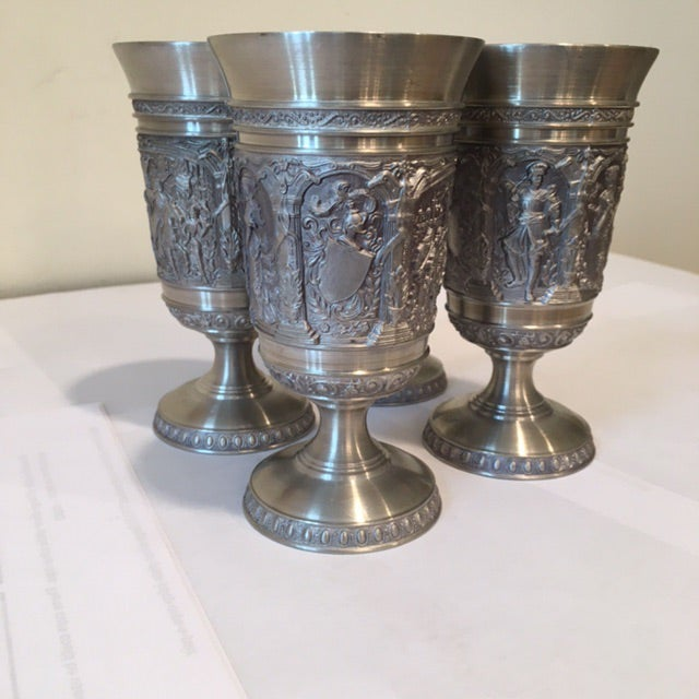 Vintage Embossed Pewter Cups - Set of 4 - Image 5 of 9