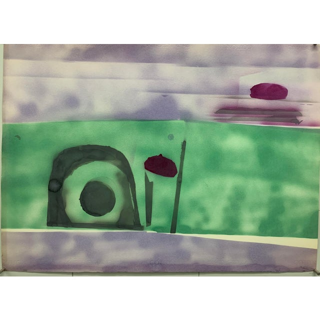 """1970s 1978 """"Purple Sky Abstract Landscape"""" Nyc Female Artist Beatrice Fisher For Sale - Image 5 of 5"""