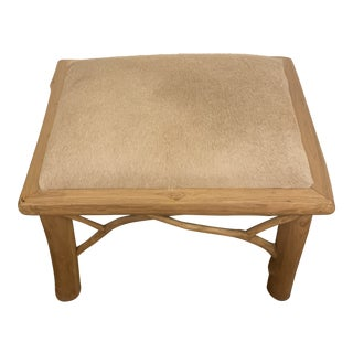 1970s Vintage Cow Hide Upholstered Twig Bench For Sale