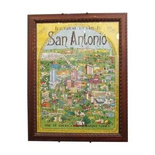 1970s Vintage San Antonio Framed Map For Sale