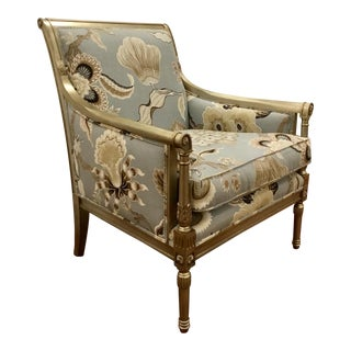 Blue Floral Borghese Bergere Chair By: Schumacher Co. For Sale