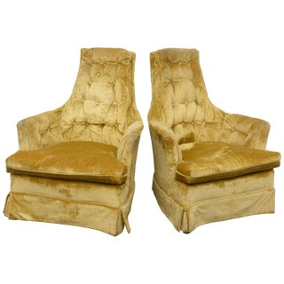 High Back Swivel Tufted Rocker/Lounge Chairs, 1960s Usa For Sale
