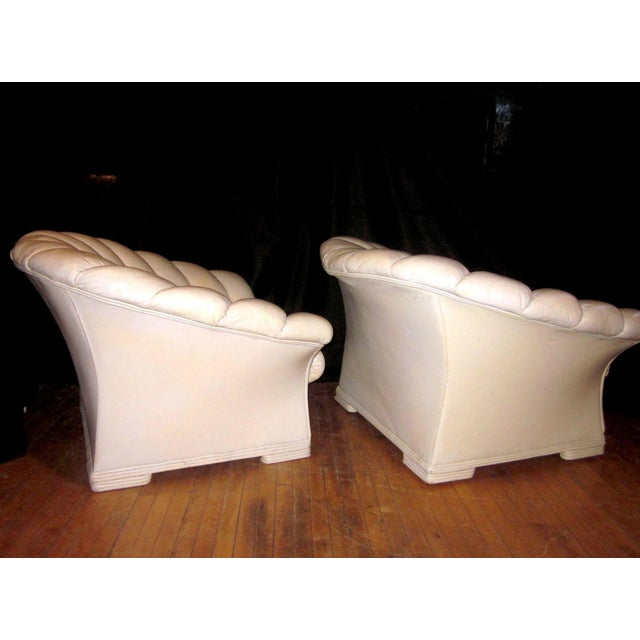 1930s Vintage French Art Deco Scalloped Back Clamshell Leather Lounge Chair- a Pair For Sale - Image 10 of 11