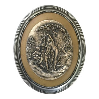 19th Century Satyr Nymph and Cupid Pewter and Brass Plaque For Sale