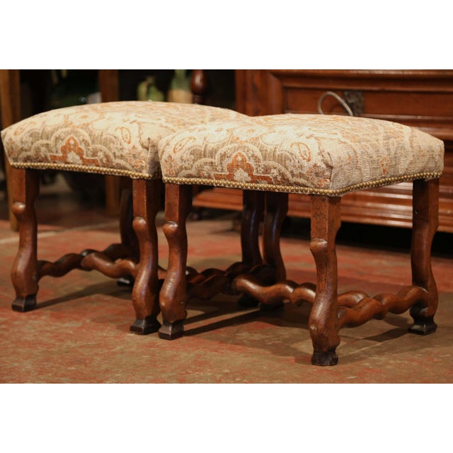 Fabric 19th Century French Louis XIII Carved Walnut Os De Mouton Stools - a Pair For Sale - Image 7 of 9