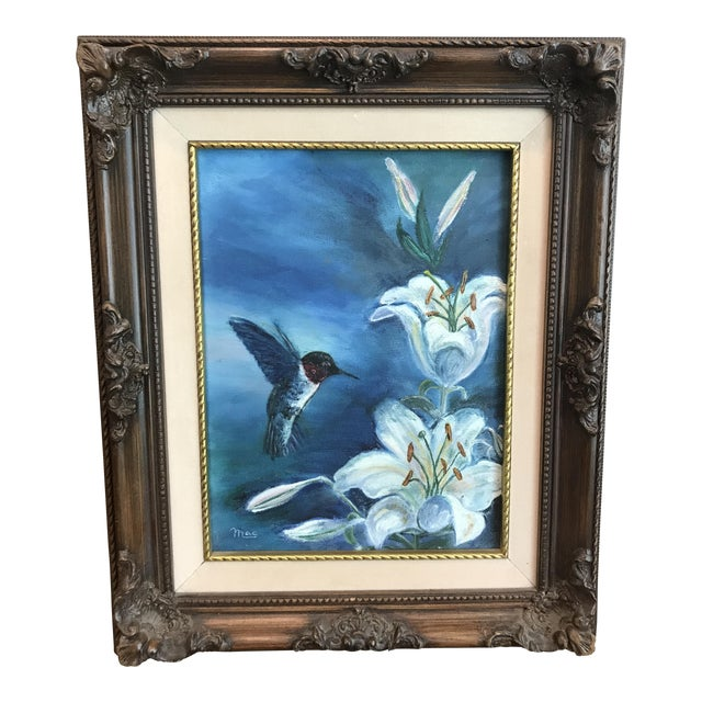 Vintage Hummingbird and Flowers Oil Painting, Signed For Sale