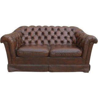 English Leather Chesterfield Sofa Vintage Couch For Sale