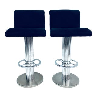 Designs for Leisure Blue Ultra-Suede Bar Stools - a Pair For Sale