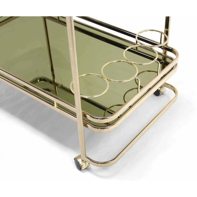 Early 20th Century Smoked Glass Gold or Brass Finish Tea or Bar Italian Cart For Sale - Image 5 of 8
