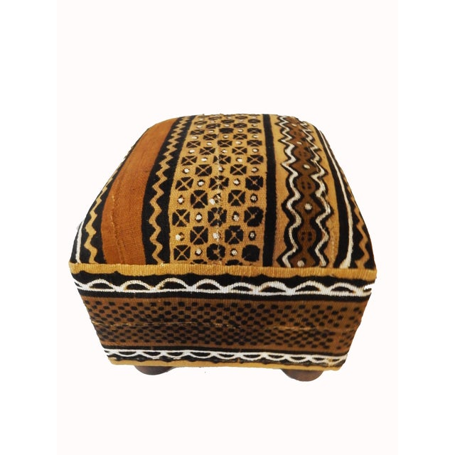 African Malian Mud Cloth Bogolan Textile Ottoman - Image 2 of 6