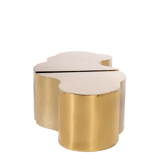 Contemporary Luca Coffee Tables in Gold - a Pair For Sale - Image 3 of 4