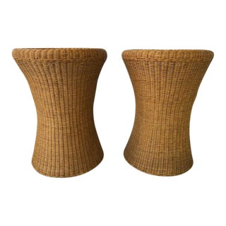 1970s Mid Century Woven Wicker Rattan Tables Aarnio Style - a Pair For Sale