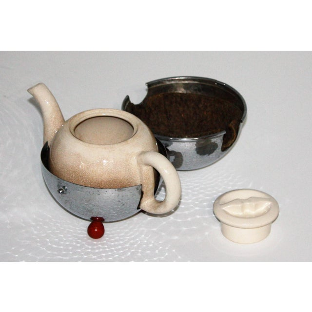 Art Deco 1920s Silver and Porcelain Tea Set of 4 For Sale - Image 3 of 8