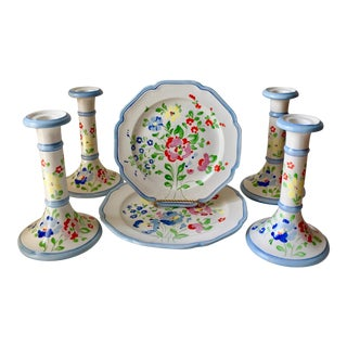 4 Italian Faience Candlesticks+2 Matching Plates-1960's For Sale