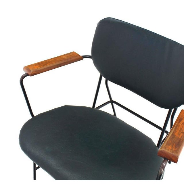 Mid-Century Danish Modern Bent Wire Frame Wood Arm Dining / Side Chair For Sale - Image 4 of 10