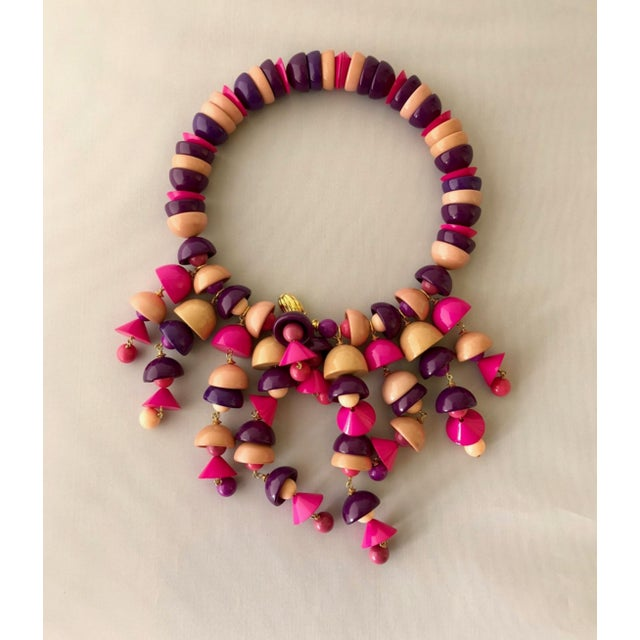 Boho Chic French Pink Fringe Architectural Bib Statement Necklace For Sale - Image 3 of 7