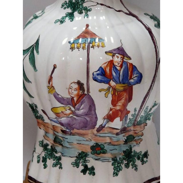 Good Pair of French Moustiers Faience Chinoiserie Style Knobble Vase Lamps - Image 4 of 4