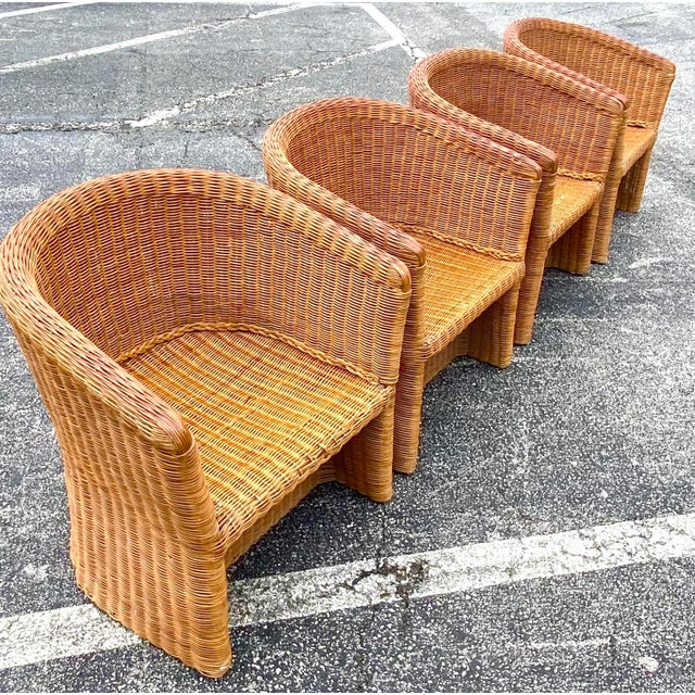 Vintage Boho Chic Rattan Barrel Chairs -Set of 4 For Sale - Image 13 of 13