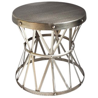 Nickel Hammered Side Table