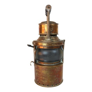 Mid 19th Century Antique Copper Shipping Lantern For Sale