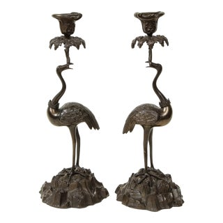 Pair of Bronze Ostrich Candlesticks For Sale
