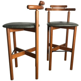 Danish Bar or Counter Stools Teak and Leather by Gangso Mobler - A Pair For Sale