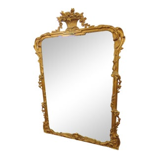 Italian Gilt Floral Carved Mirror For Sale