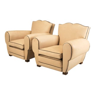 French Leather Club Chairs - a pair For Sale