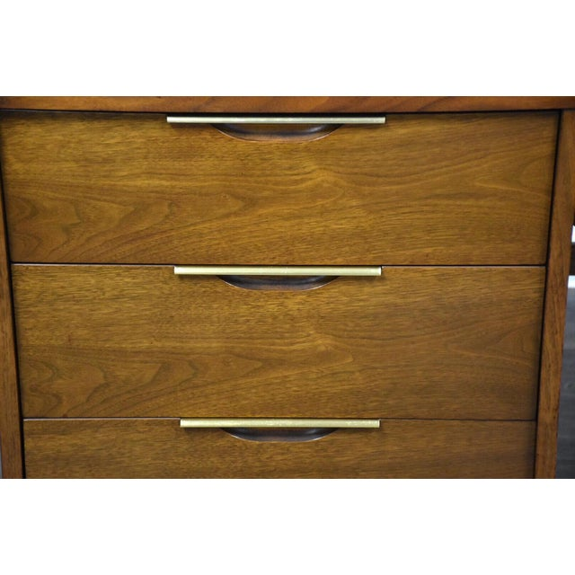 Kent Coffey Tableau Walnut and Brass Desk For Sale - Image 10 of 12
