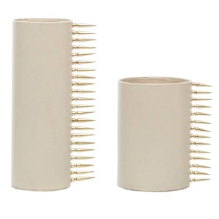 Round Cream Leather Vase With Brass Fittings - a Pair For Sale