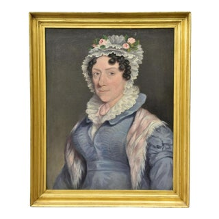 Antique Gold Framed Oil Painting of Portrait of a Lady in Bonnet For Sale