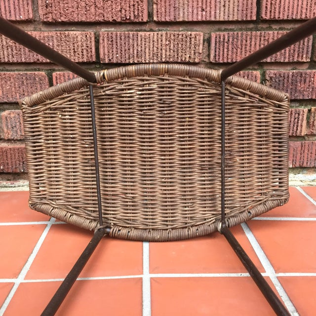 Wicker 1970s Mid-Century Modern Arthur Umanoff Style Iron and Rattan Barstools - a Pair For Sale - Image 7 of 9