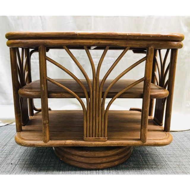 Boho Chic 1980s Boho Chic Swivel Split Bamboo Rattan Console Table For Sale - Image 3 of 12