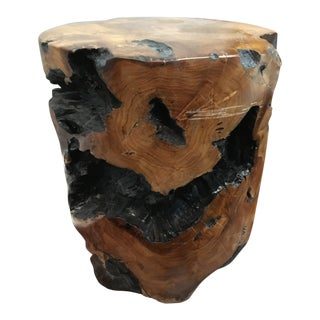 Boho Chic Natural Teak Root Wood Side Table For Sale