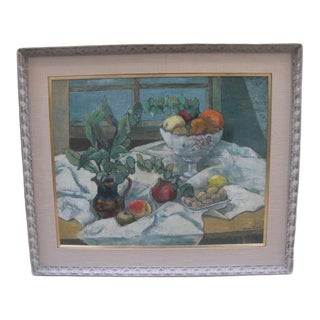 Mid 20th Century Still Life With Fruit and Leaves Oil Painting, Framed For Sale