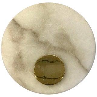 Single Italian Circular Carrara Marble Wall Sconce For Sale