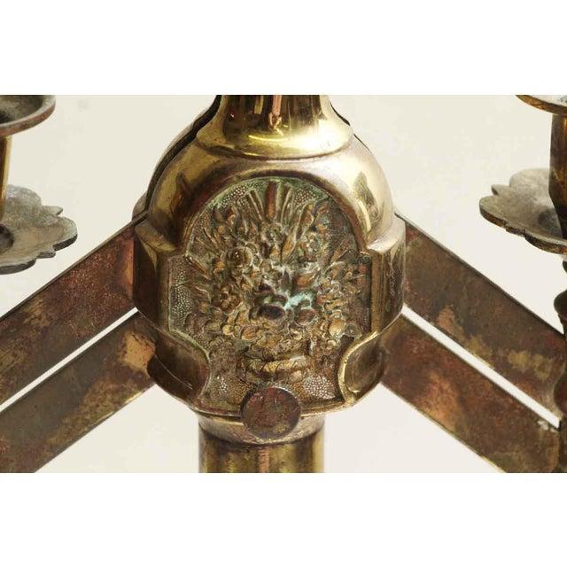 Brass Single Seven Light Brass Candelabra For Sale - Image 7 of 7