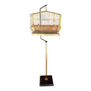 Vintage Mid-Century Brass Birdcage With Original Stand For Sale
