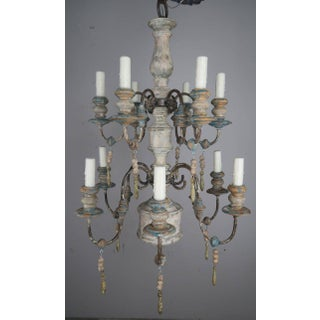 Twelve-Light Wood and Iron Painted Chandelier Preview