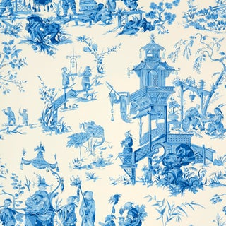 Sample - Schumacher Chinois Wallpaper in China Blue Preview