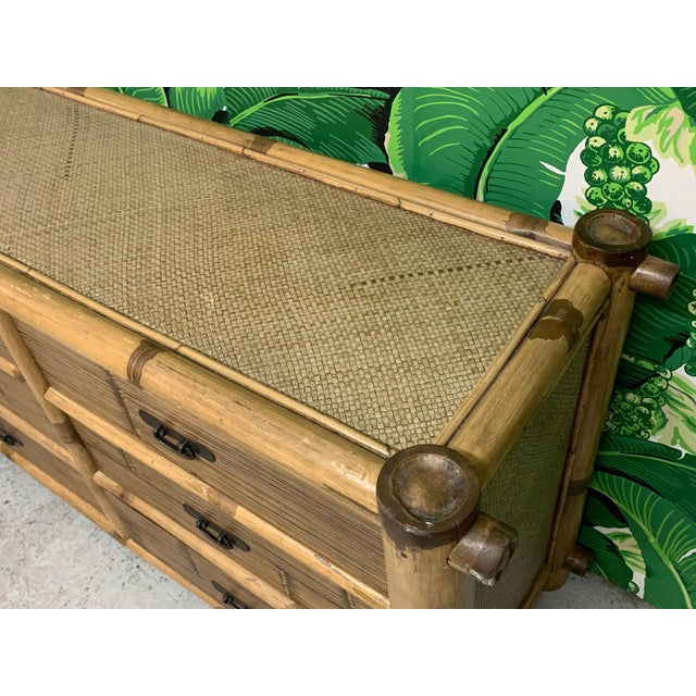 Wood Bamboo and Rattan Double Dresser For Sale - Image 7 of 10