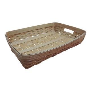 Vintage Flat-Woven Serving Fruit Basket/ Tray For Sale