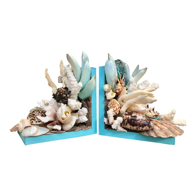 Organic Modern Turquoise Bookends Laden With Rare Shells - a Pair For Sale