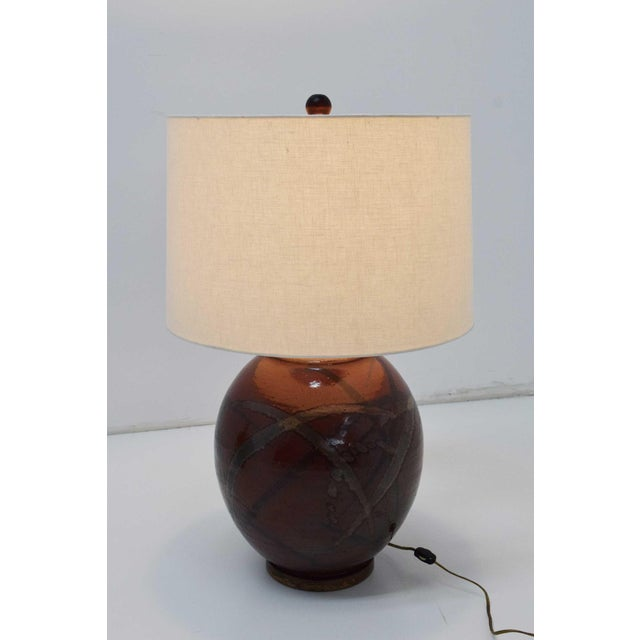 1970s Brent Bennett Ceramic Glaze Table Lamps - a Pair For Sale - Image 5 of 11