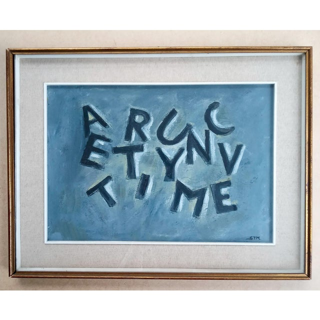 Paper Mid 20th Century Text Oil Painting, Framed For Sale - Image 7 of 7