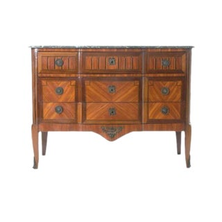 French 19th Century Marble Top & Wood Inlay Commode For Sale