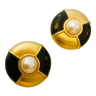 1980s Givenchy Large Scale Faux Pearl Gripoix Earrings For Sale