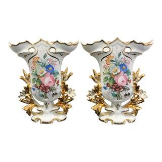 Floral Portuguese Porcelain Vases - a Pair For Sale